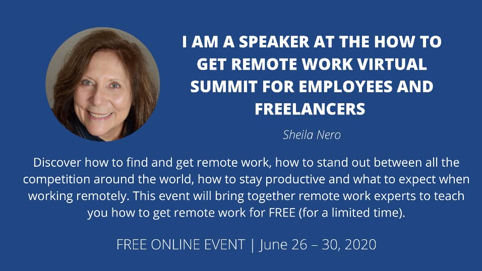 "Business Card with Sheila Nero Bio for ""how to Get Remote Work Virtual Summit for Emplyees ad Freelancers"""